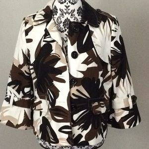 Rafaella Brown Leaf Print Jacket